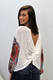 White Birch  Twist Back Contrast Sleeve Top - Product Mini Image