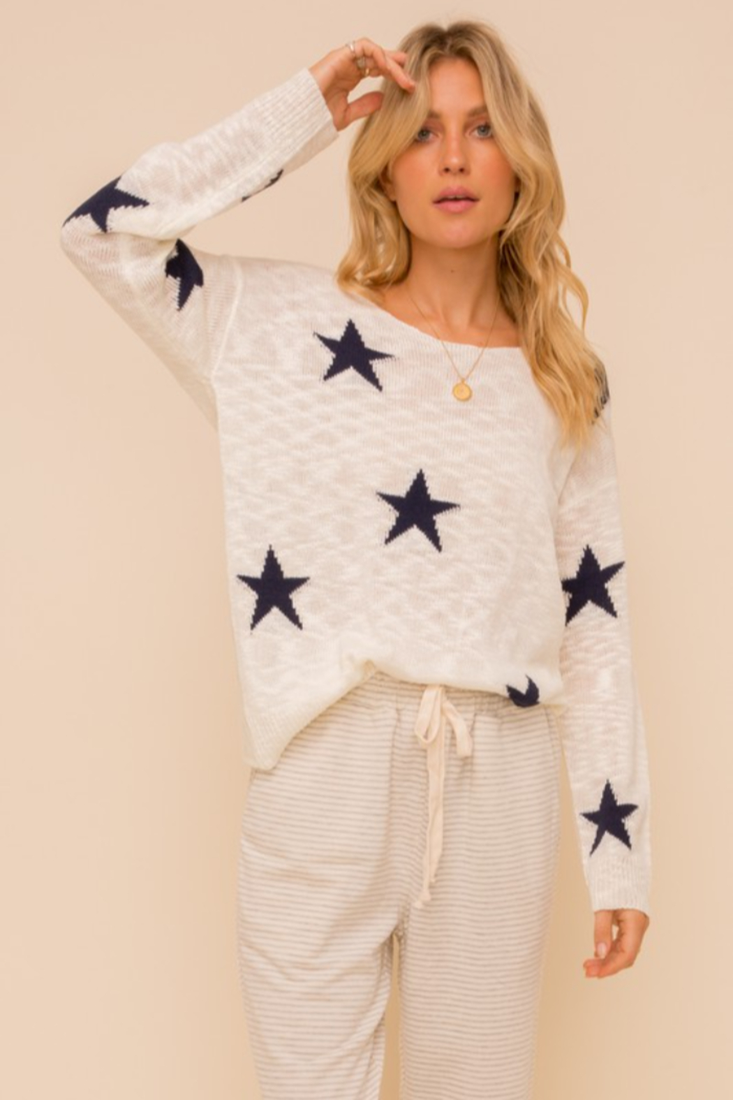 Hem and Thread Twist Back Star Sweater - Front Full Image
