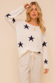 Hem and Thread Twist Back Star Sweater - Front full body