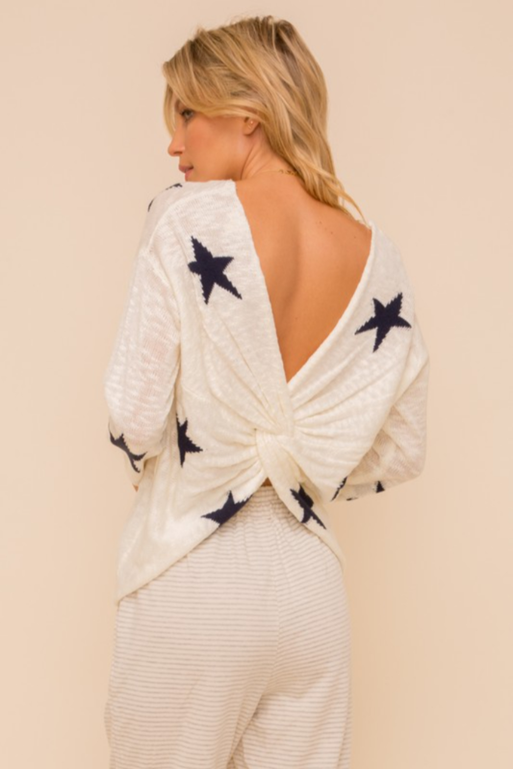 Hem and Thread Twist Back Star Sweater - Main Image