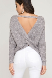 She + Sky Twist Back Sweater - Front cropped