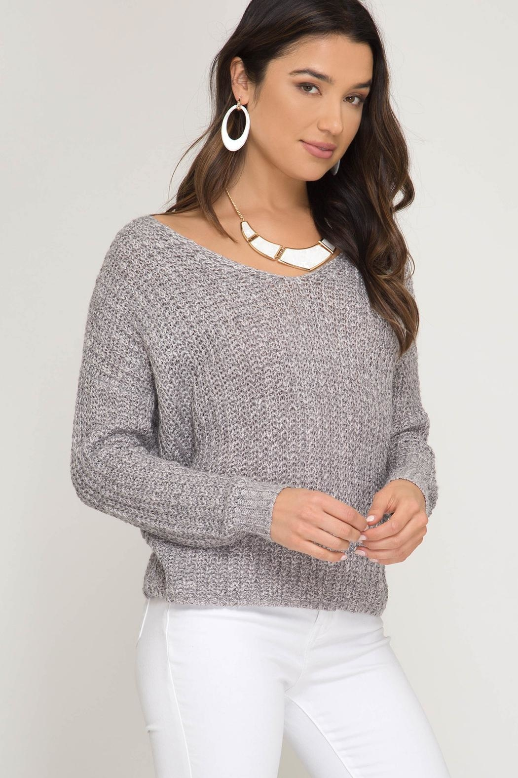 She + Sky Twist Back Sweater - Front Full Image