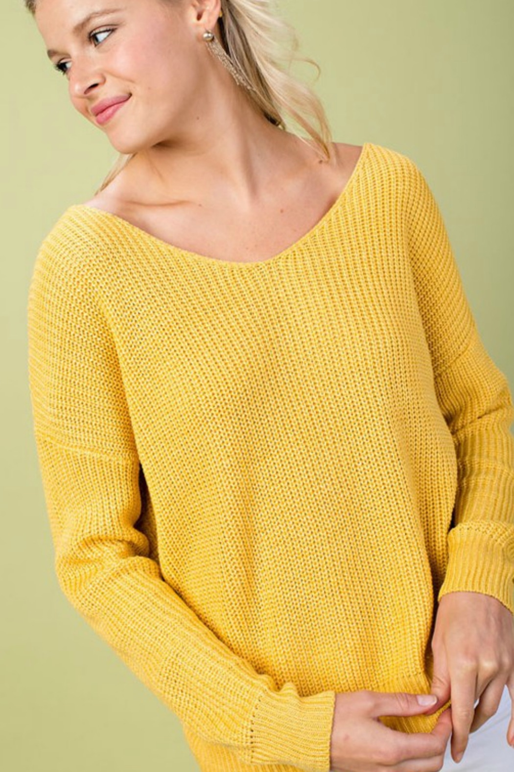 Main Strip Twist Back Sweater - Front Full Image