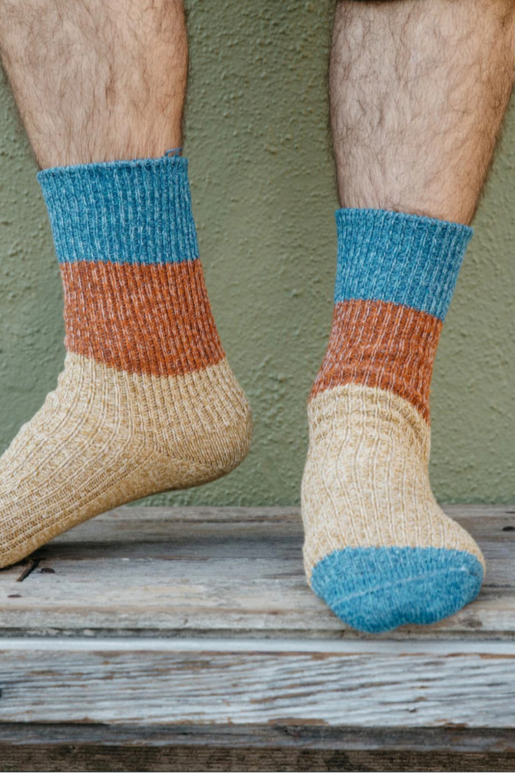 Mollusk Twist Crew Sock in Rust and Blue - Front Full Image