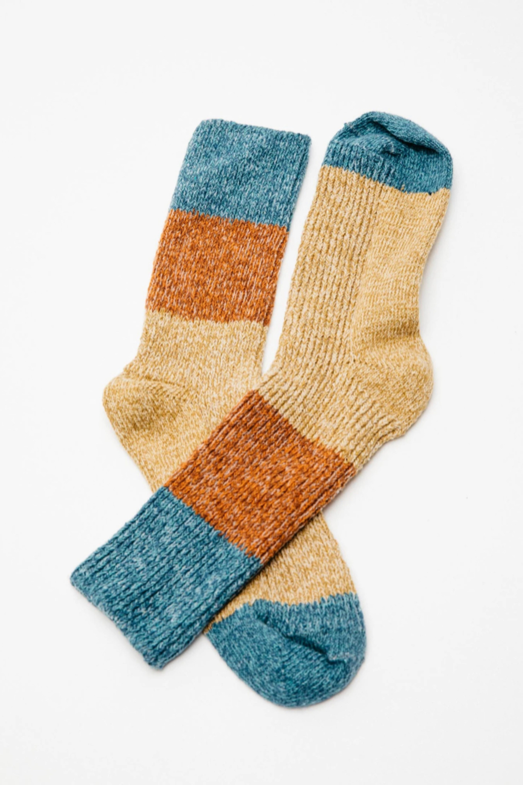 Mollusk Twist Crew Sock in Rust and Blue - Back Cropped Image