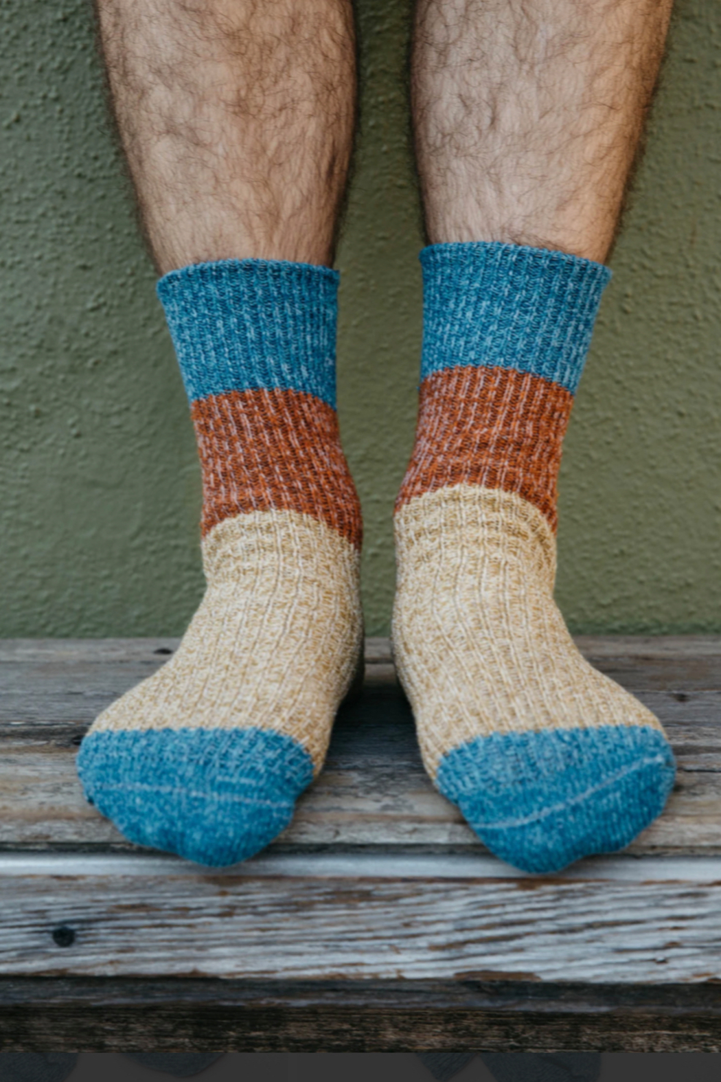 Mollusk Twist Crew Sock in Rust and Blue - Main Image