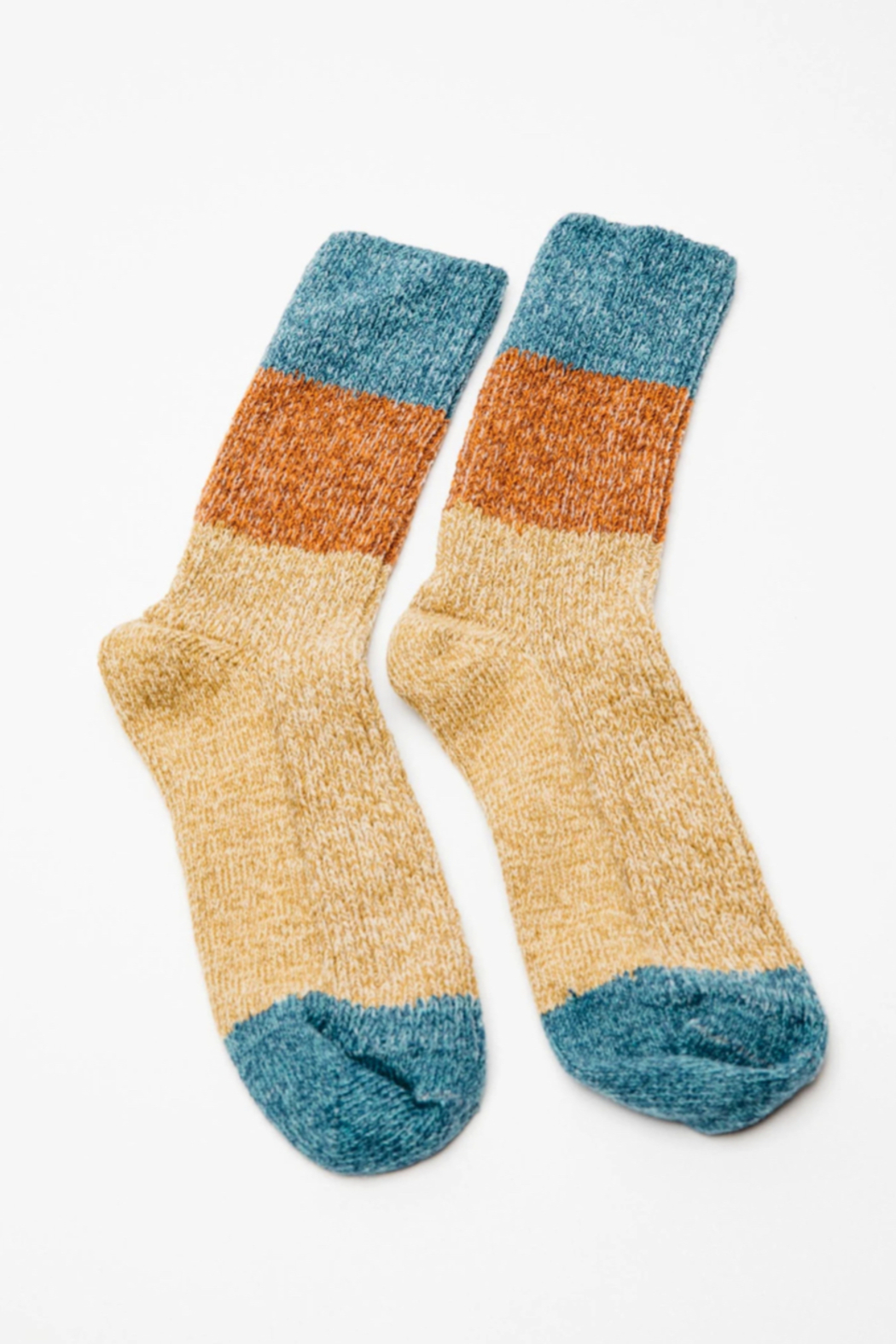 Mollusk Twist Crew Sock in Rust and Blue - Side Cropped Image