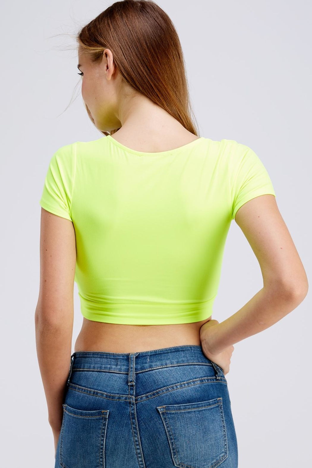blue blush Twist Crop Top - Back Cropped Image