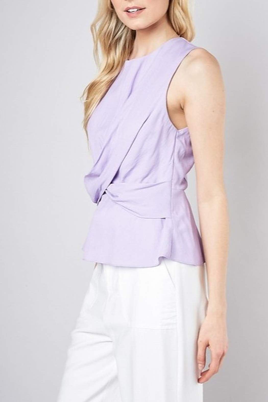 Do & Be Twist Front Peplum Top - Front Full Image