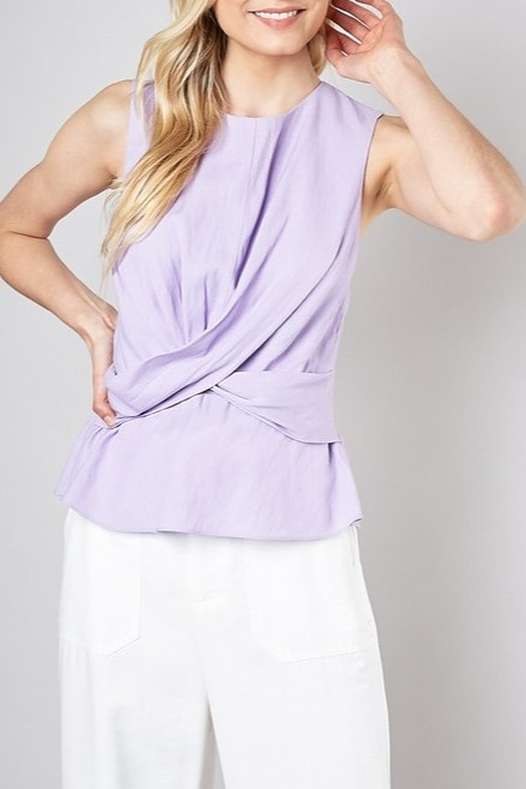 Do & Be Twist Front Peplum Top - Front Cropped Image
