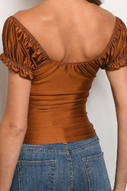 One by One TWIST FRONT PUFF SLEEVE TOP - Front full body
