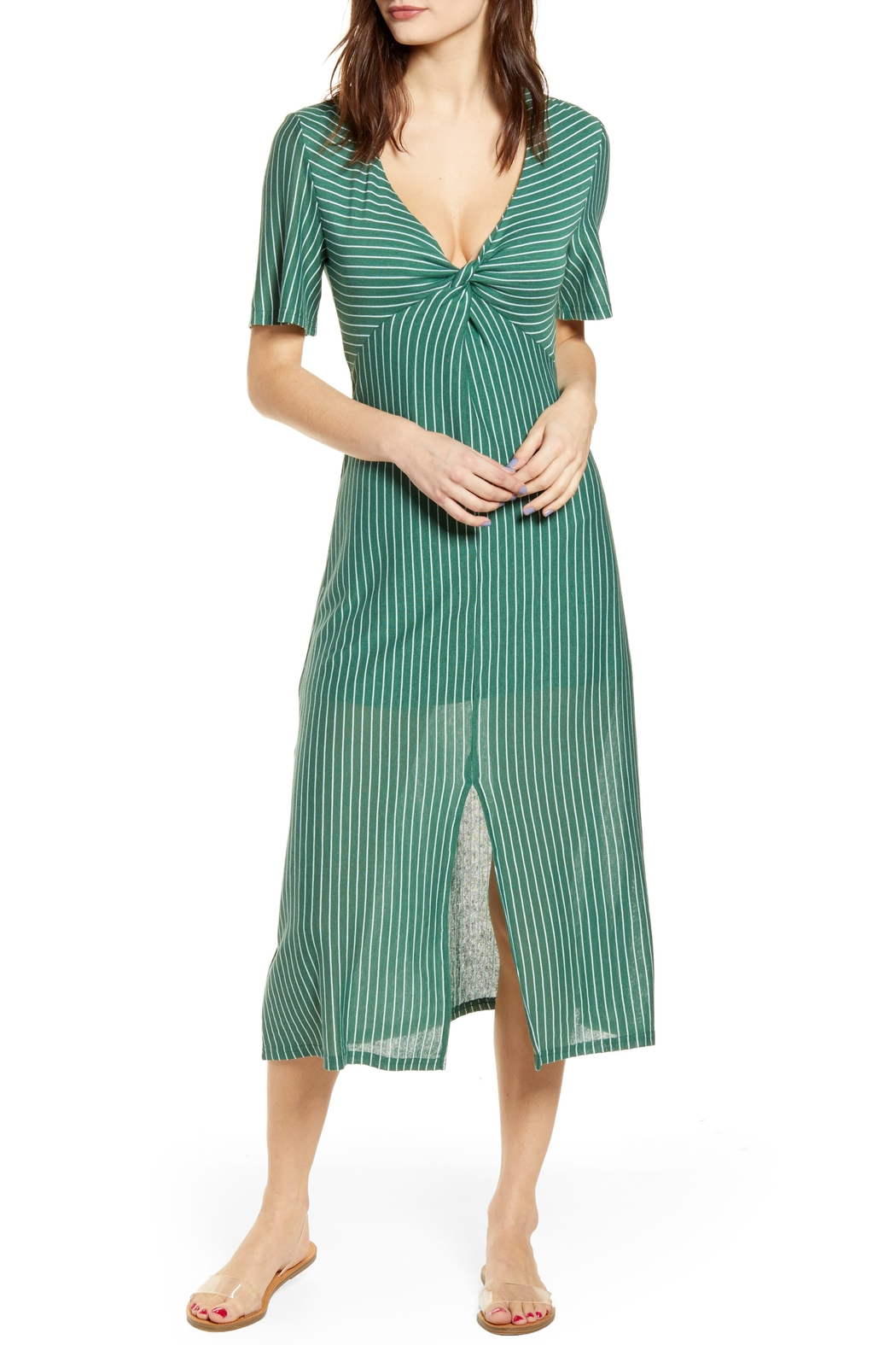 Mink Pink Twist-Front Strip Midi-Dress - Front Cropped Image