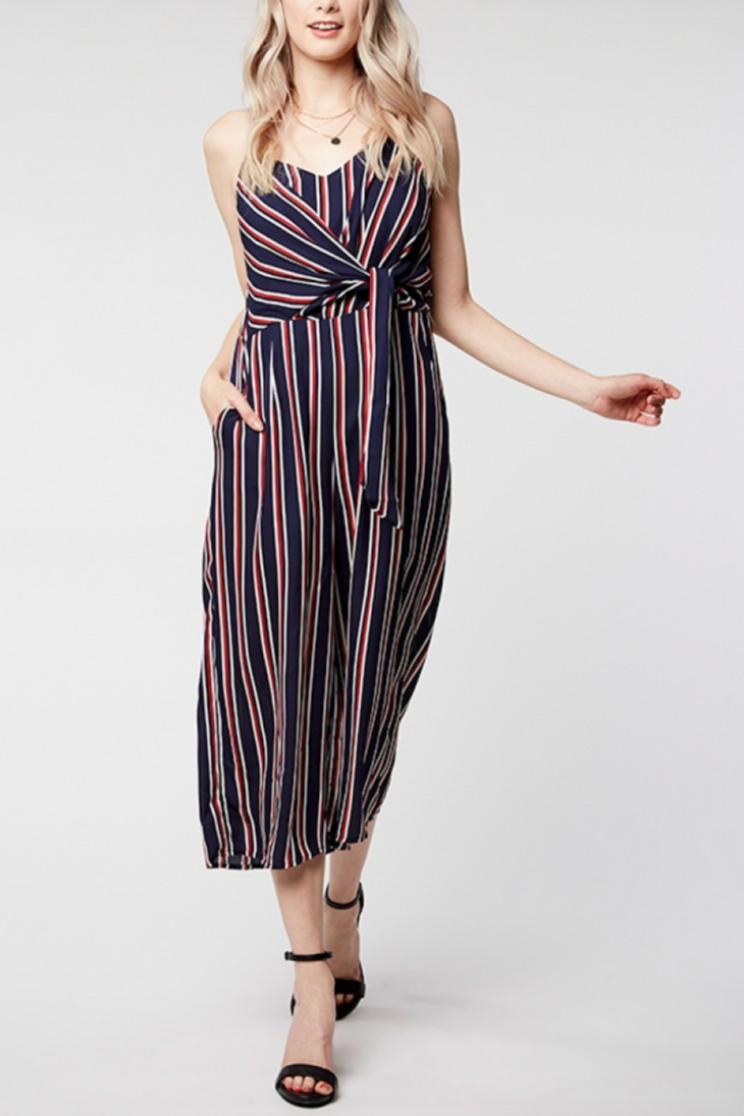 Everly Twist Front Stripe Jumper - Front Cropped Image