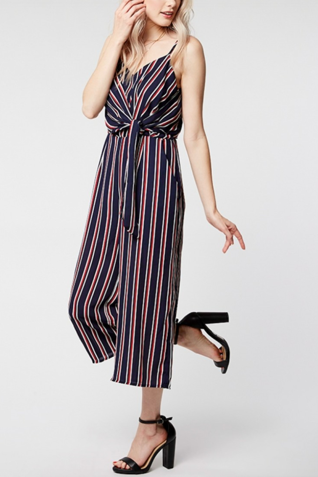 Everly Twist Front Stripe Jumper - Side Cropped Image