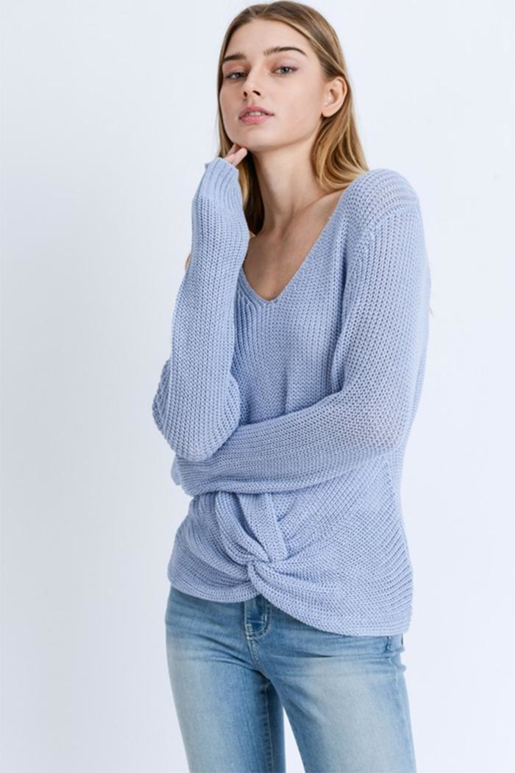 Love Tree Twist Front Sweater - Front Cropped Image