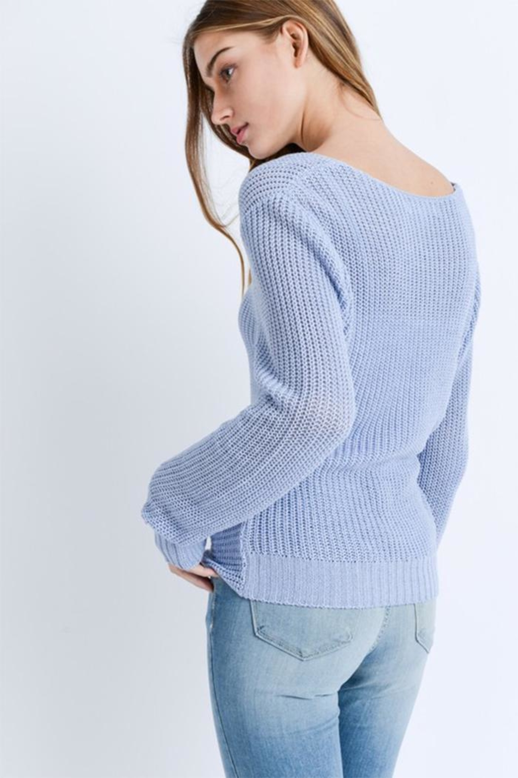 Love Tree Twist Front Sweater - Side Cropped Image