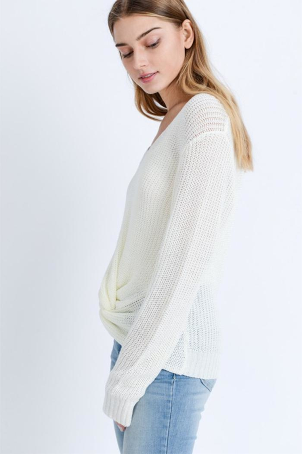 Love Tree Twist Front Sweater - Front Full Image