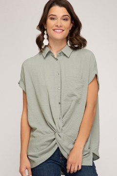 She + Sky Twist Front Top - Product List Image