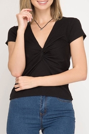 She + Sky Twist Ribbed Top - Product Mini Image