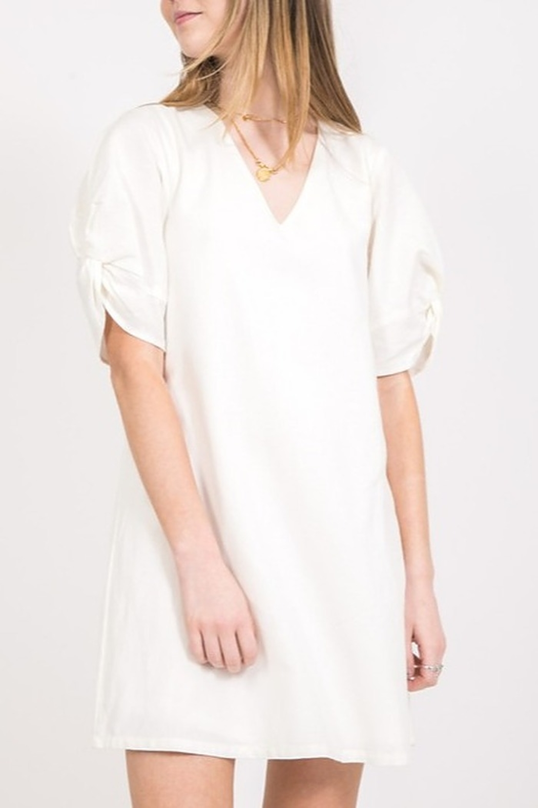 Very J Twist Sleeve Dress - Front Cropped Image