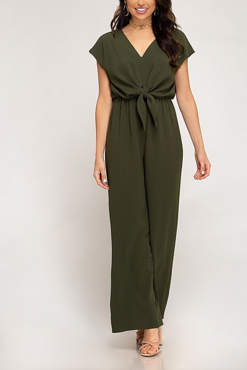 She + Sky Twist Treats jumpsuit - Front Cropped Image