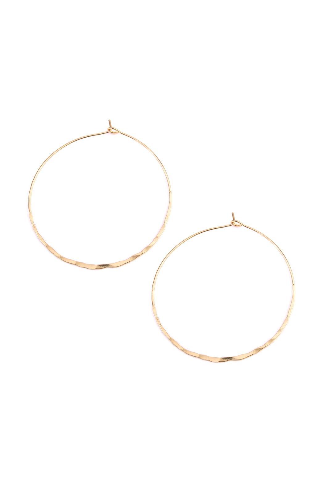 Riah Fashion Twisted Hammered Hoop-Earrings - Front Cropped Image
