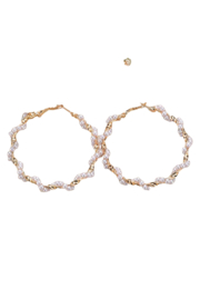 Petunias of Naples Twisted Pearl and Gold-Tone Hoops - Product Mini Image