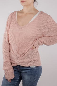 En Creme Twisted Sweater Pink - Product List Image