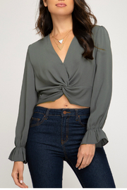 She + Sky TWISTED WOVEN CROP TOP - Product Mini Image