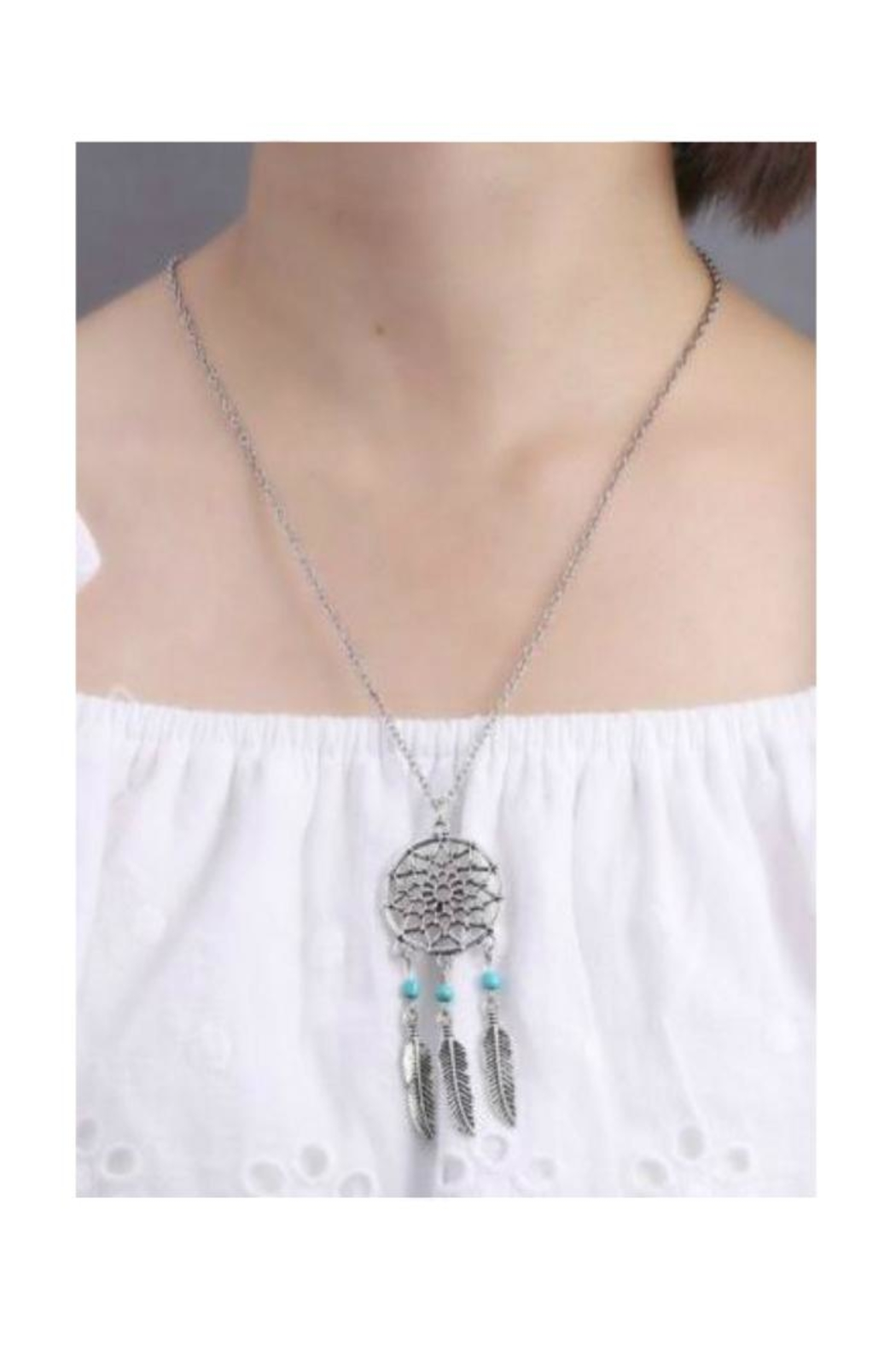 Twisted Designs Dream-Catcher Turquoise-Feather Necklace - Front Full Image