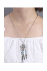 Twisted Designs Dream-Catcher Turquoise-Feather Necklace - Front full body