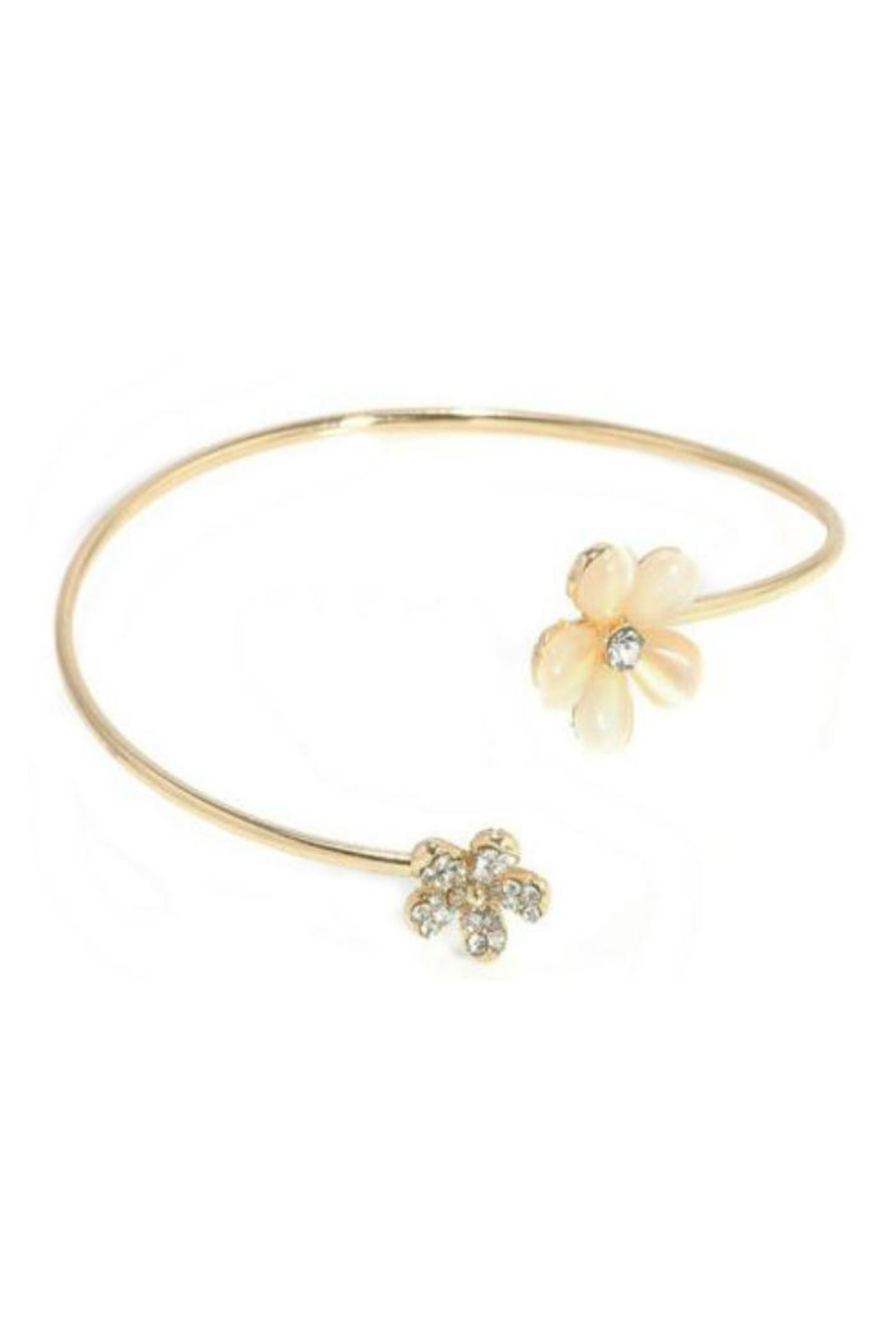 Twisted Designs Gold-Flower Arm Cuff - Front Cropped Image