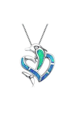 Shoptiques Product: Heart-Shaped-Dolphin Silver Necklace
