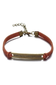 Twisted Designs Leather Bracelet W/quote - Front cropped