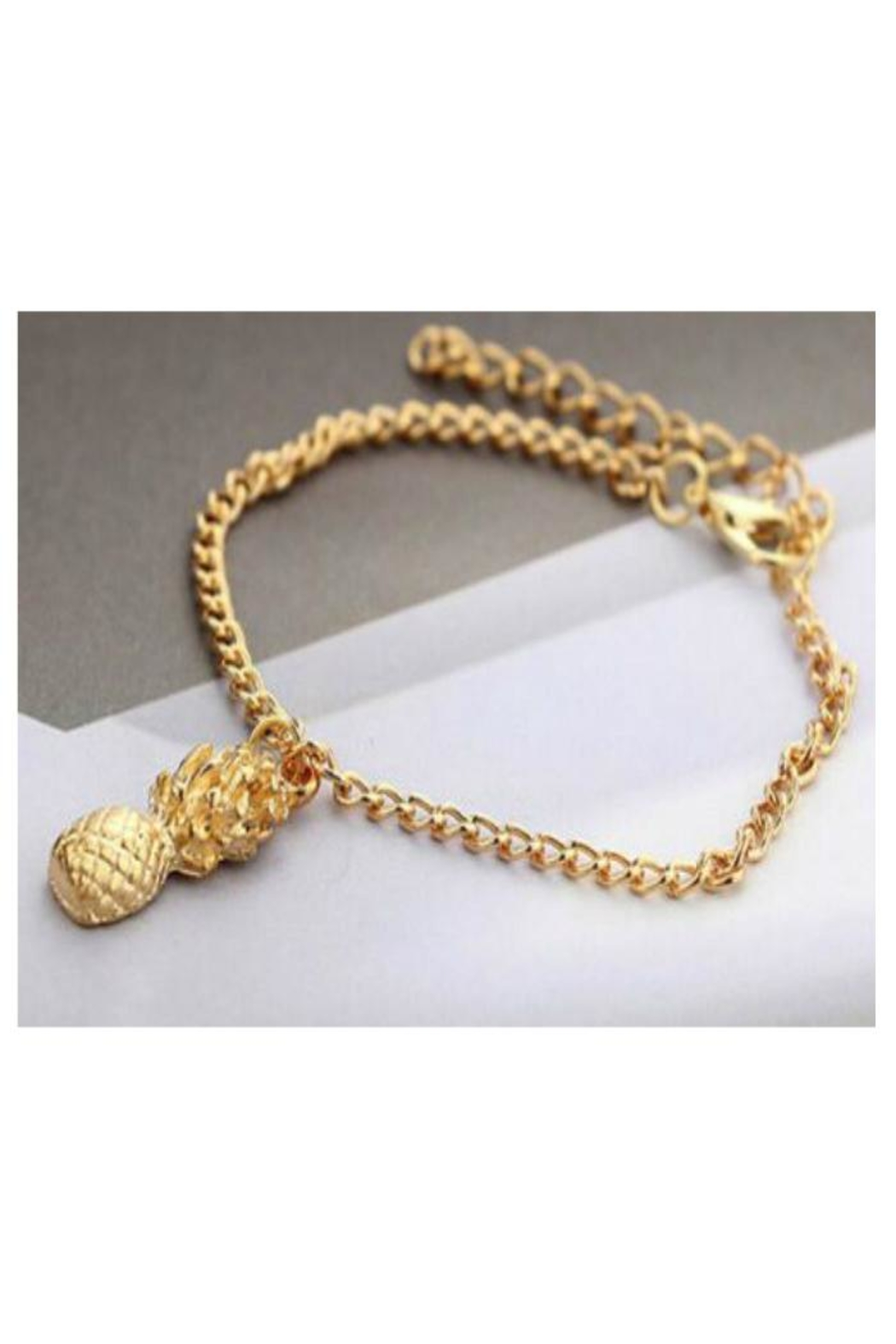 Twisted Designs Matte-Gold Pineapple Bracelet - Front Full Image