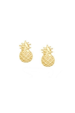 Twisted Designs Pineapple Post Earrings-Gold - Alternate List Image