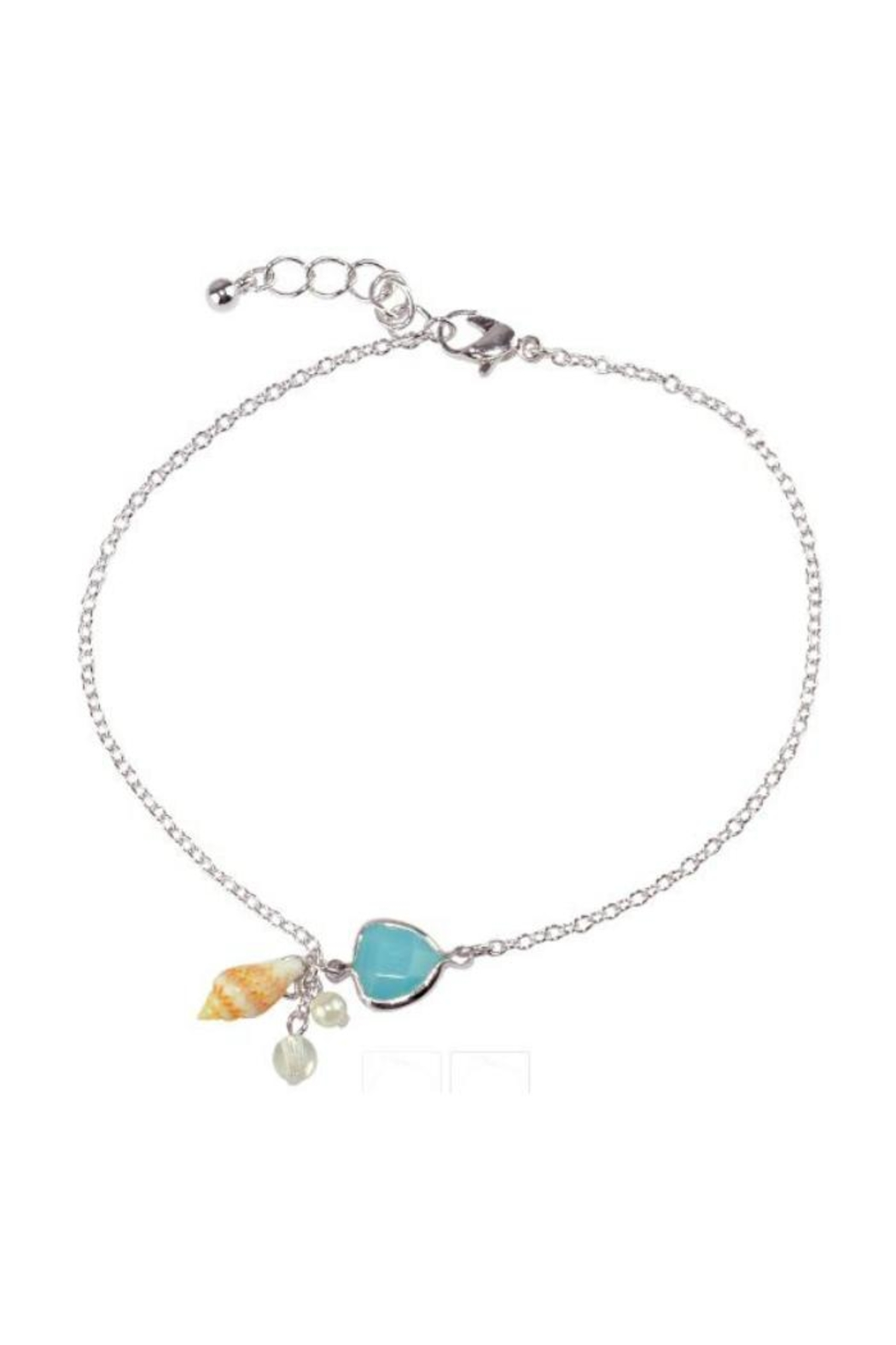 Twisted Designs Silver Shell-Pearl Anklet - Main Image