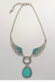 Twisted Designs Turquoise-Pendant W/silver-Metal-Wings Necklace - Product Mini Image