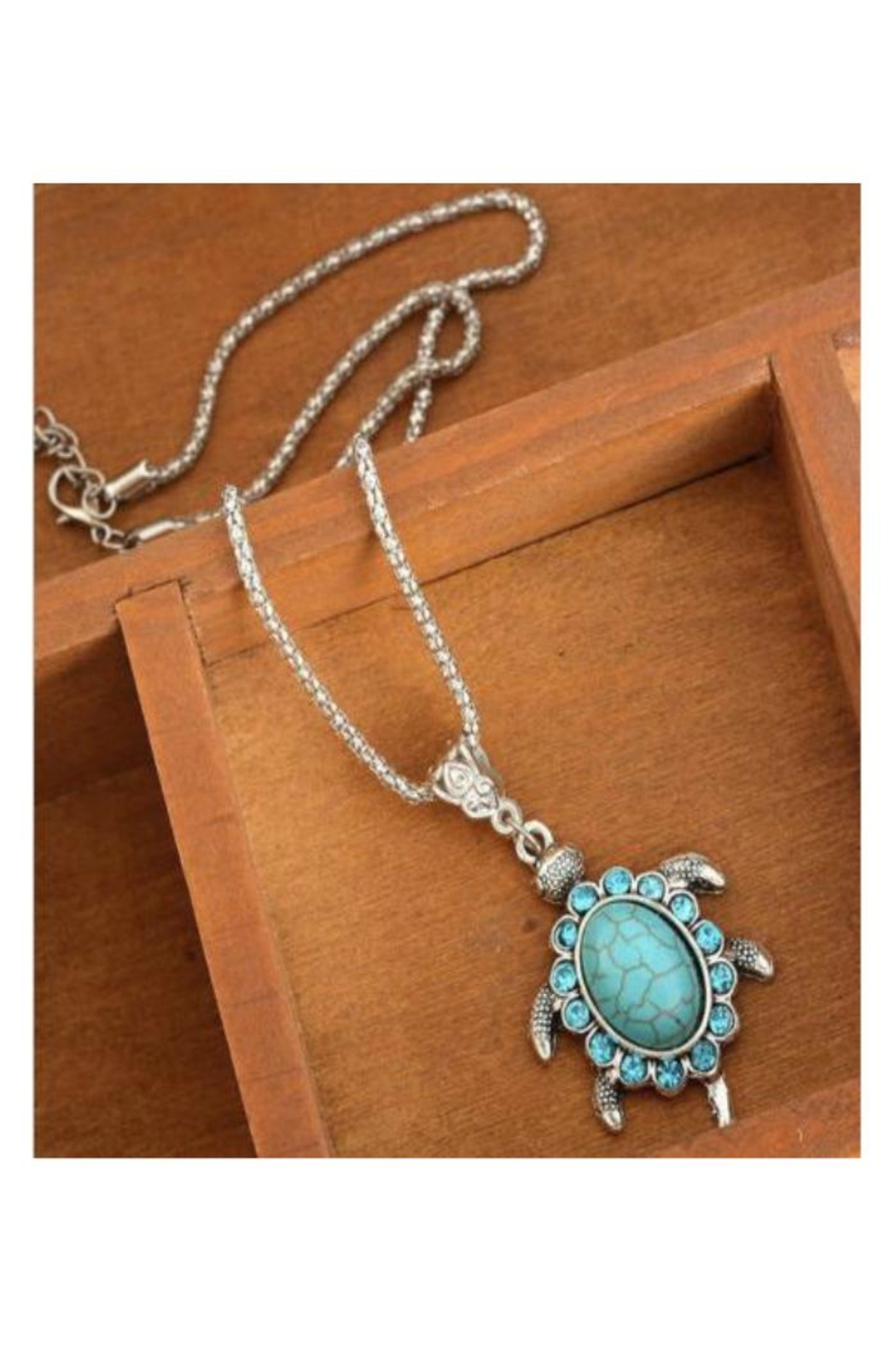 Twisted Designs Turquoise Turtle Necklace - Side Cropped Image
