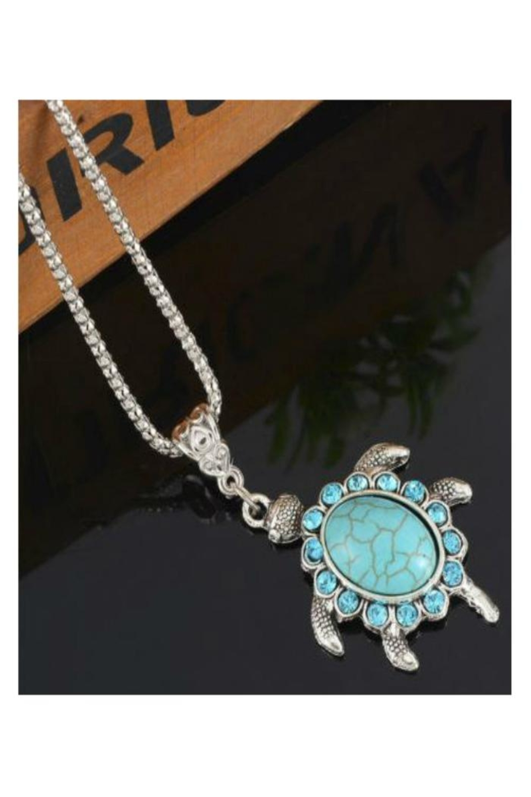 Twisted Designs Turquoise Turtle Necklace - Front Full Image