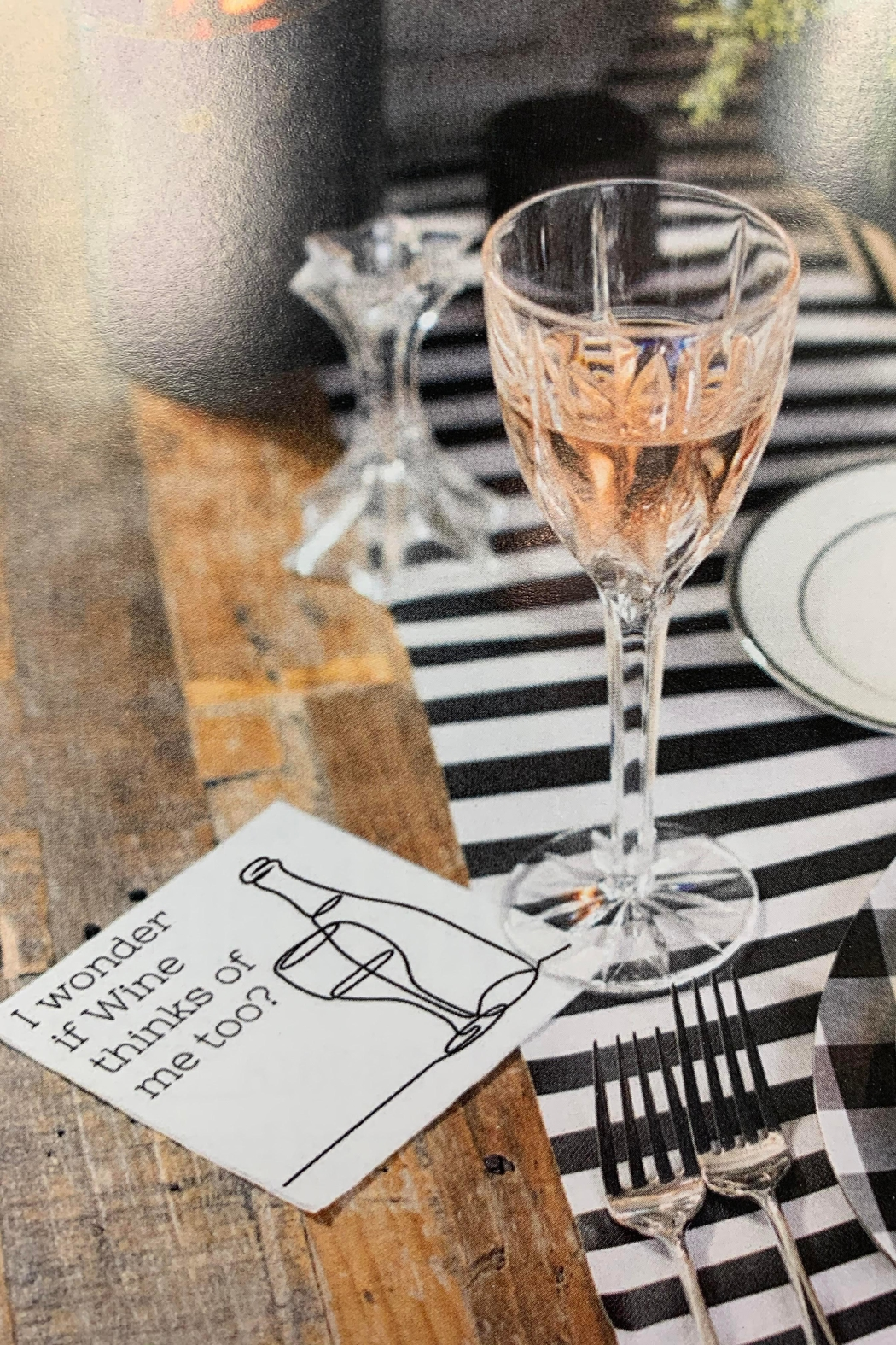 Twisted Wares I-Wonder-If-Wine-Thinks-About-Me-Too Napkins 20 - Main Image