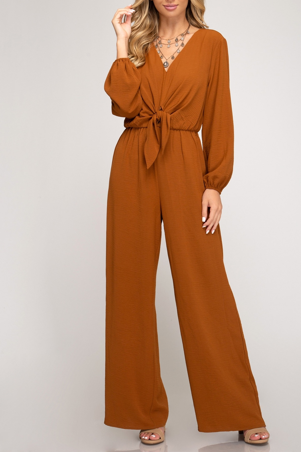 She + Sky Twisty Treats Jumpsuit - Front Cropped Image