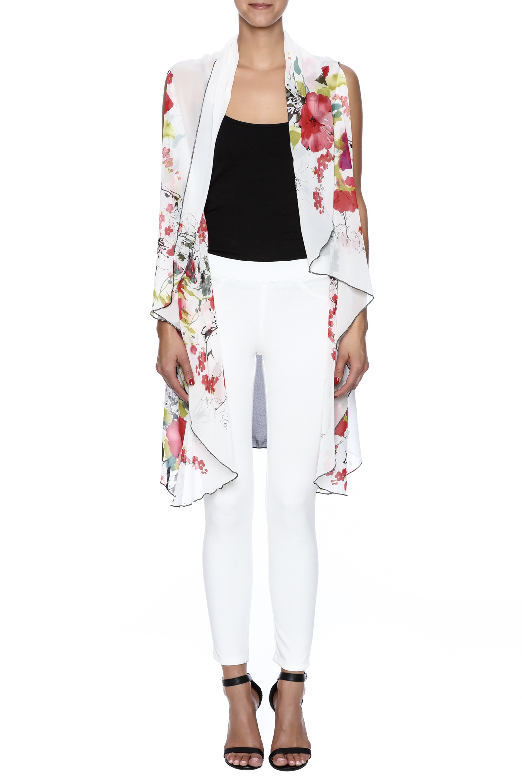 Two Chic Cherry Blossom Vest - Front Cropped Image