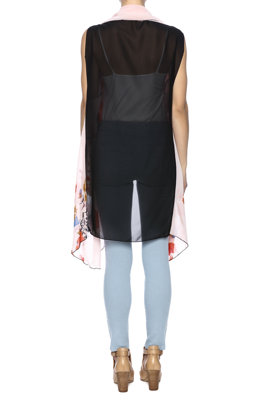 Two Chic Cherry Blossom Vest - Back Cropped Image