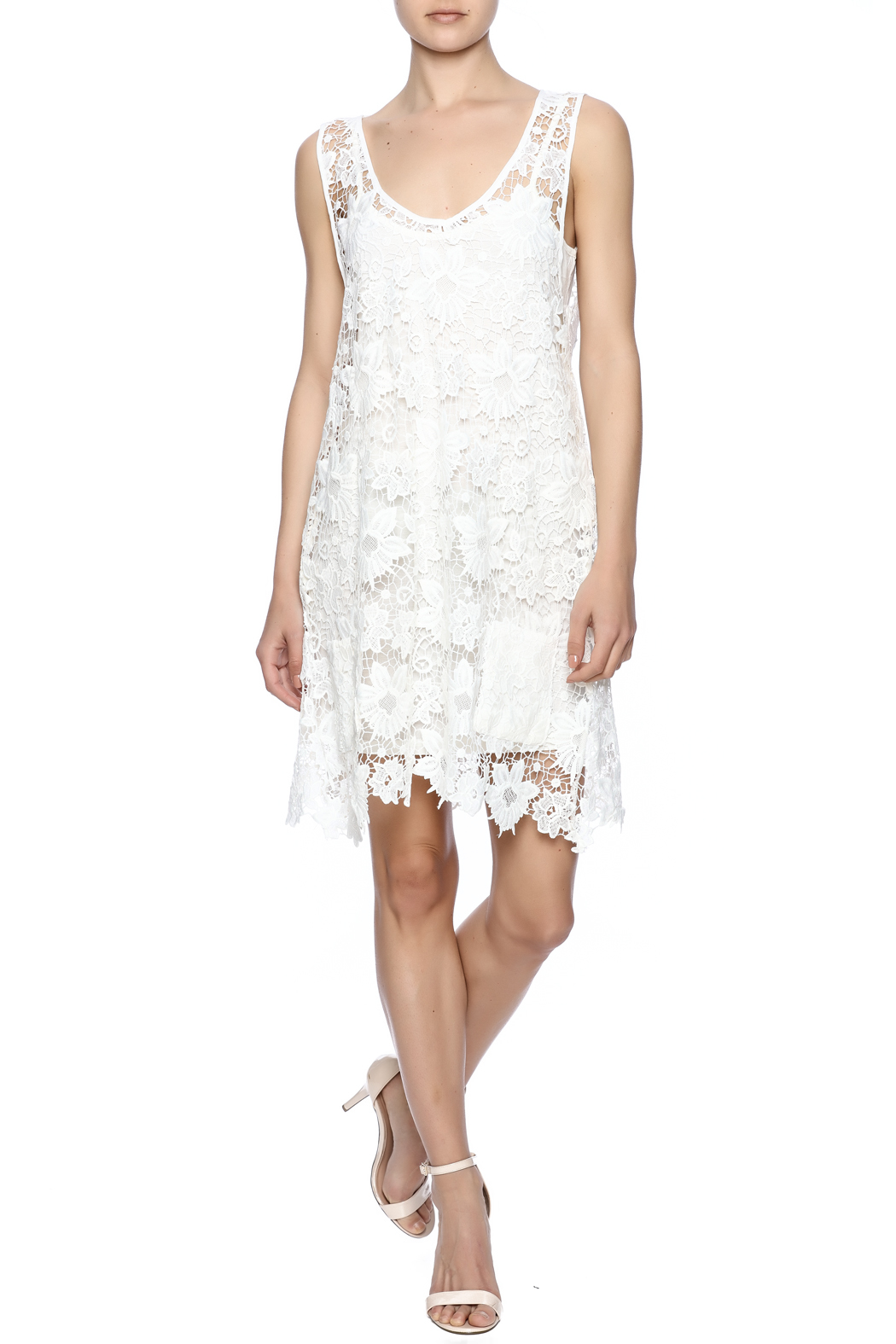 Two Chic Luxe Lace Lined Dress - Front Full Image