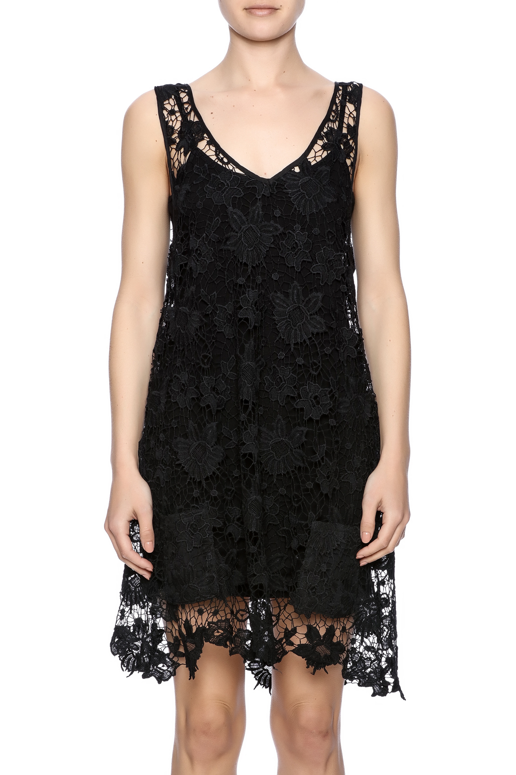 Two Chic Luxe Lace Lined Dress - Side Cropped Image