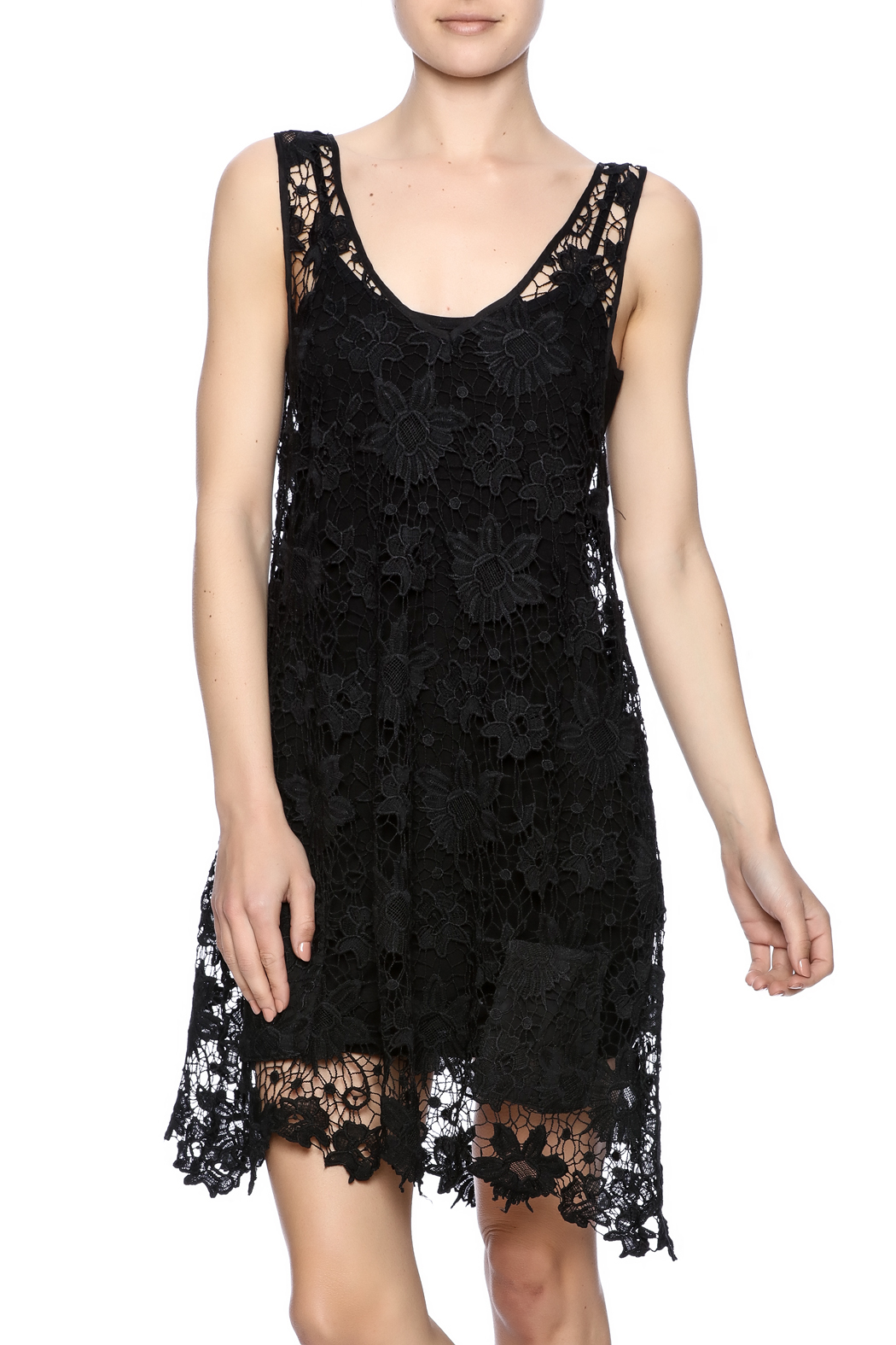 Two Chic Luxe Lace Lined Dress - Front Cropped Image