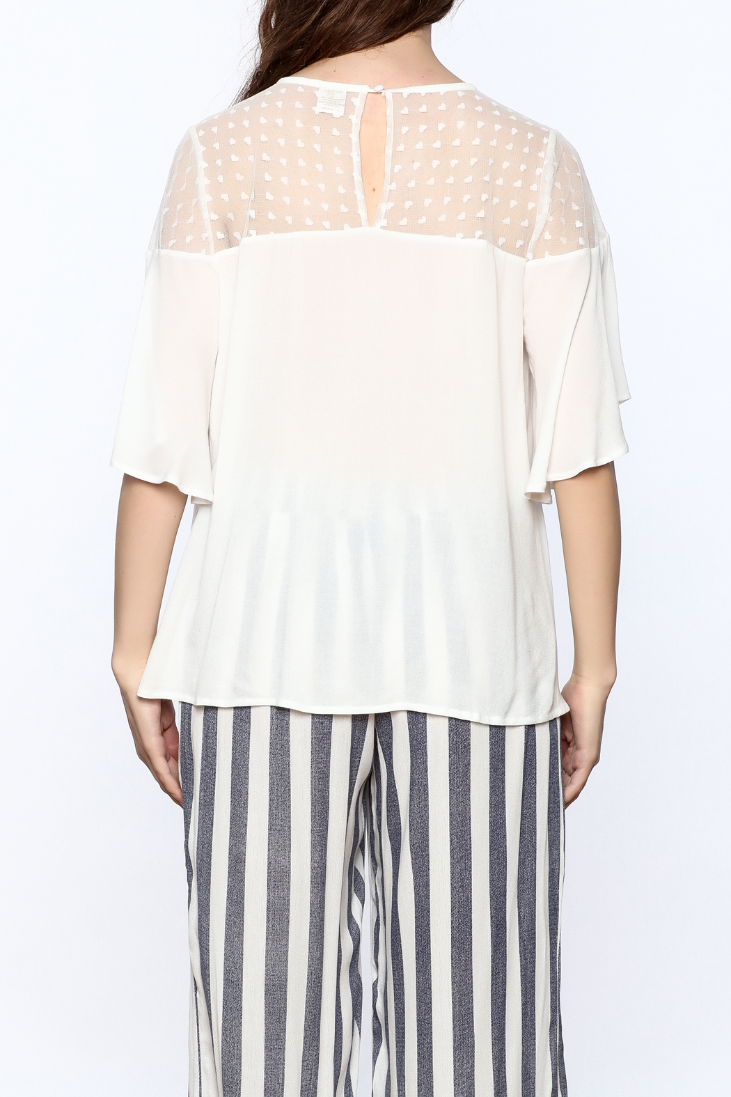 Two Chic Luxe White Lightweight Blouse - Back Cropped Image