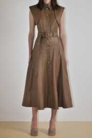 Materiel  Two-In-One Belted Vegan Leather Dress - Product Mini Image