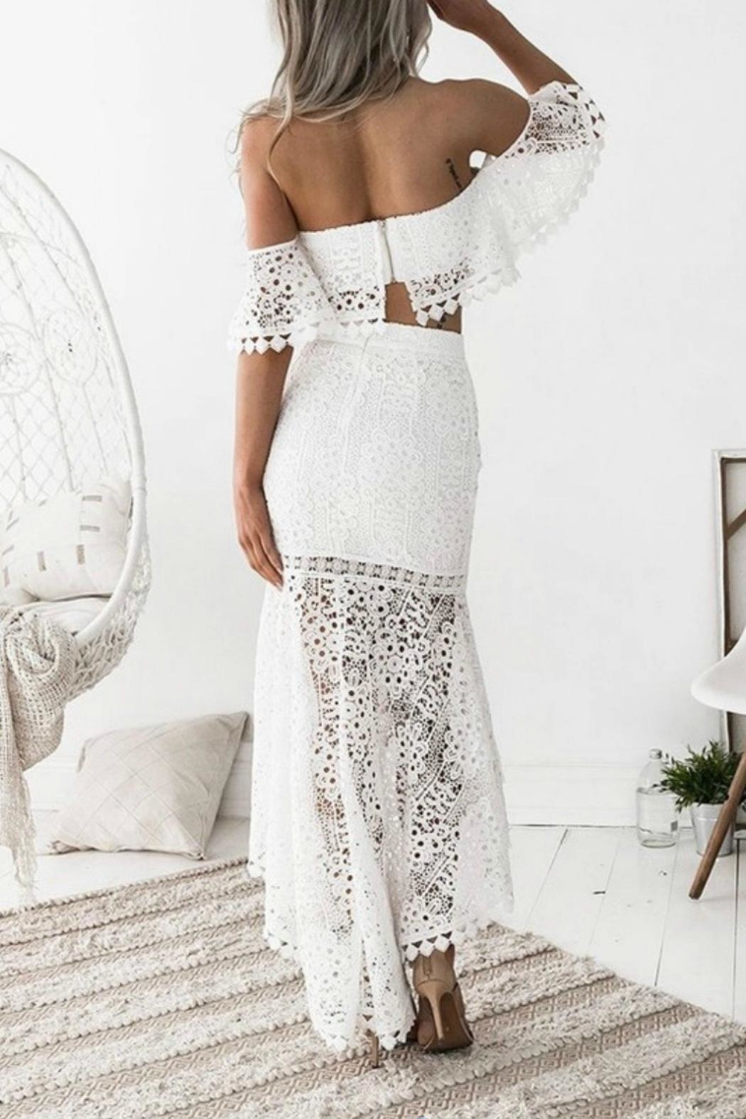 Esley Collection Two-Piece Lace Dress - Back Cropped Image